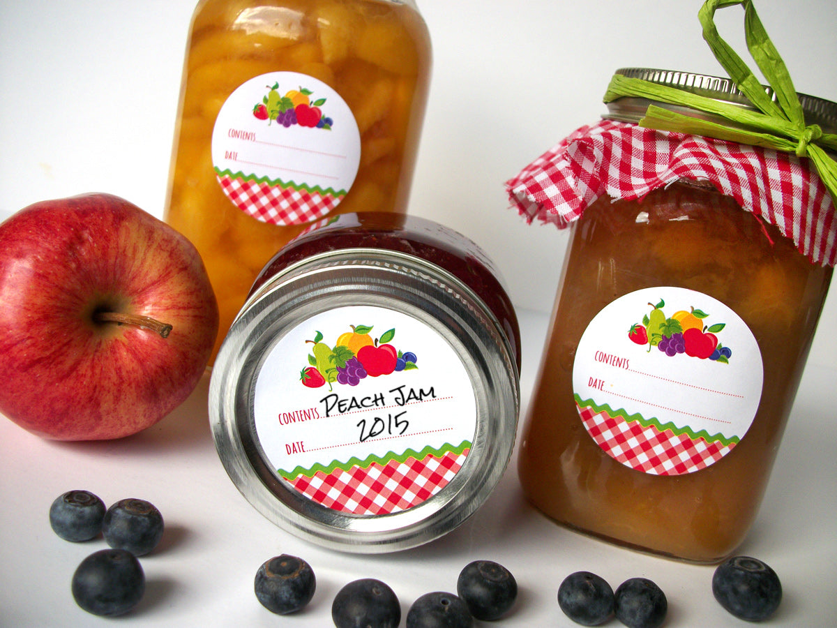 Gingham Fruit Canning Jar Labels | CanningCrafts.com