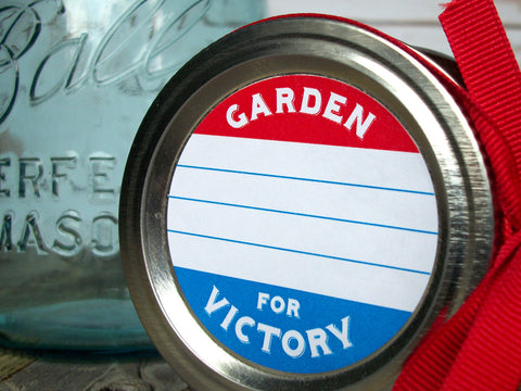 Patriotic red white & blue Garden for Victory mason jar labels | CanningCrafts.com