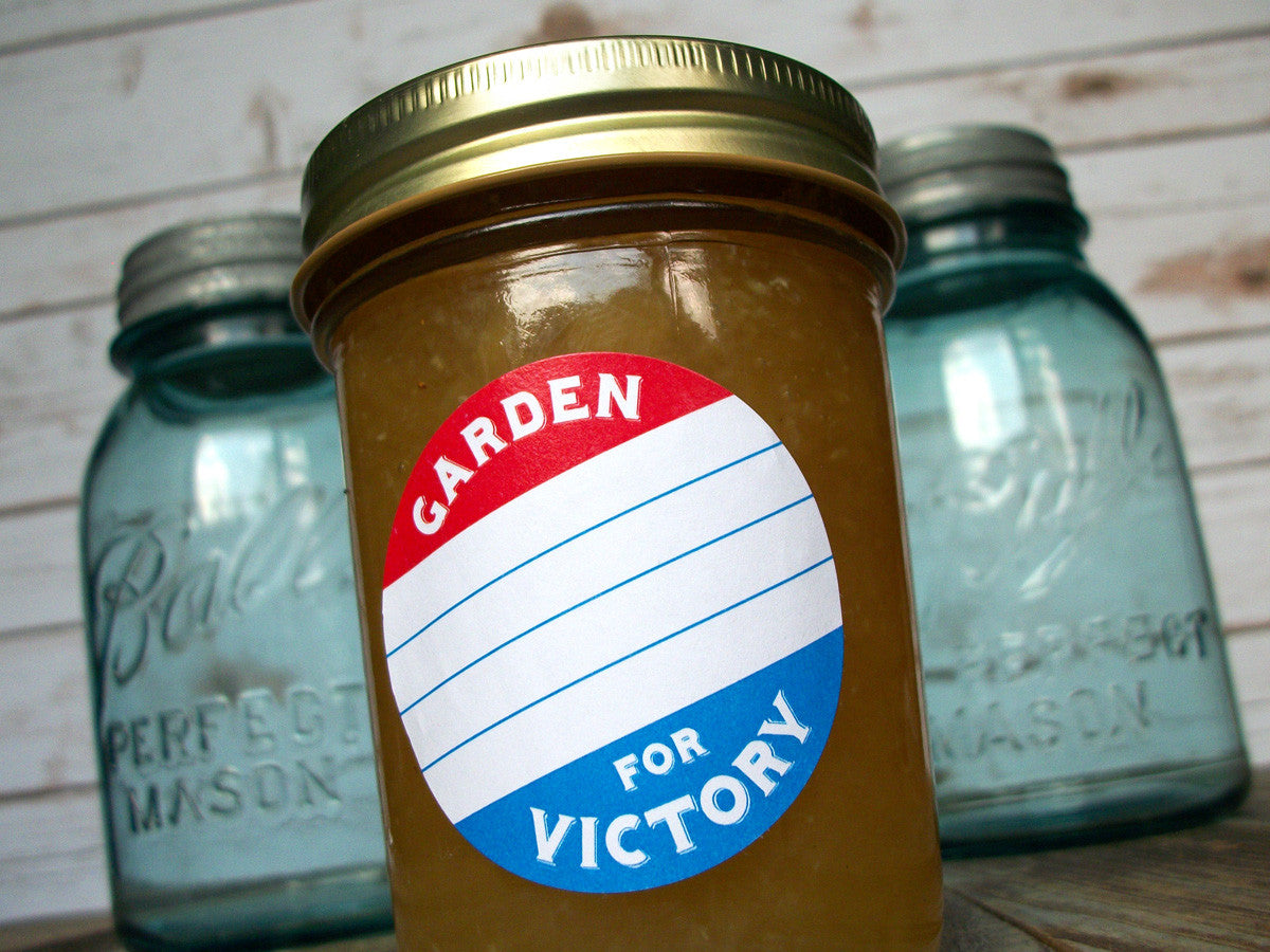 Patriotic red white & blue Garden for Victory canning labels | CanningCrafts.com