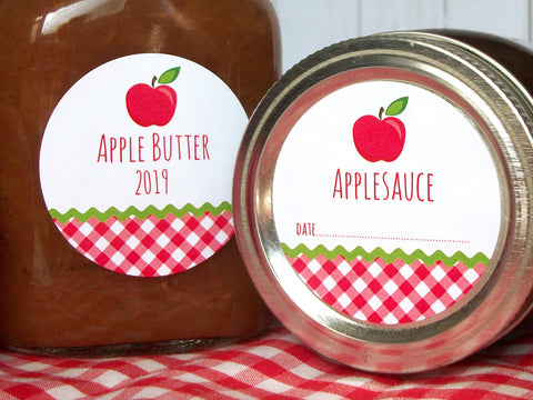 Gingham Applesauce & Apple Butter Canning Labels | CanningCrafts.com