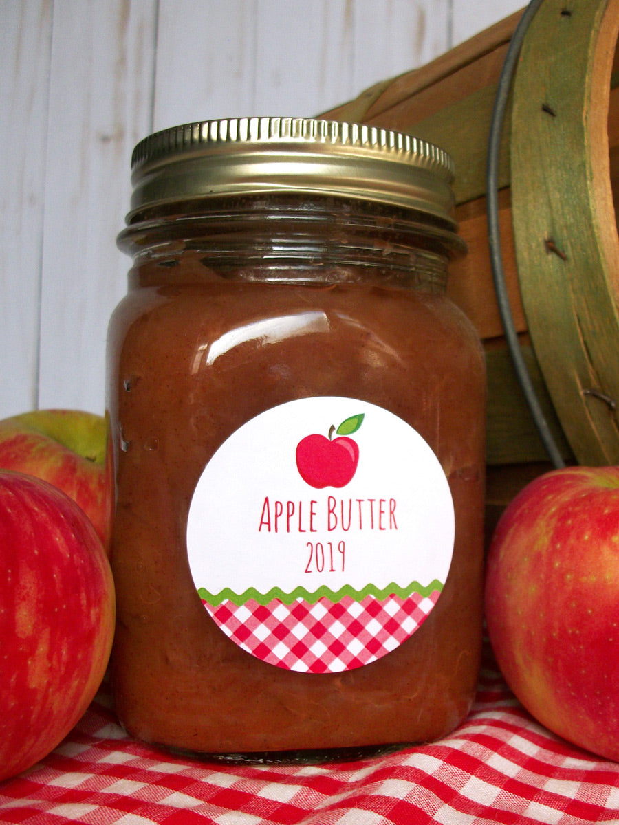Gingham Apple Butter Canning Labels | CanningCrafts.com