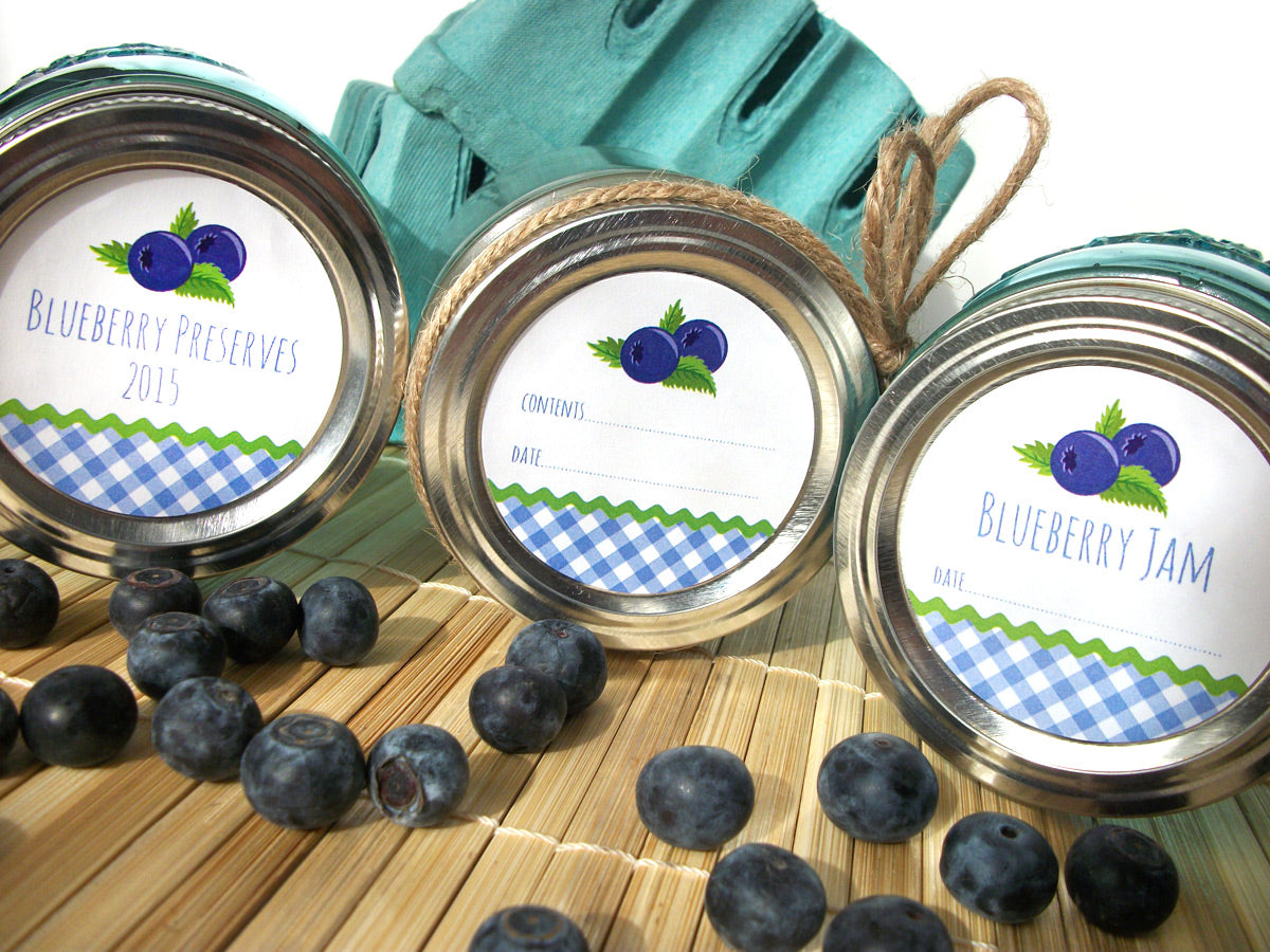 Blueberry Jam & Preserves Canning Jar Labels | CanningCrafts.com