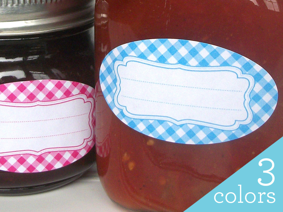 Oval Bright Gingham Canning Labels | CanningCrafts.com