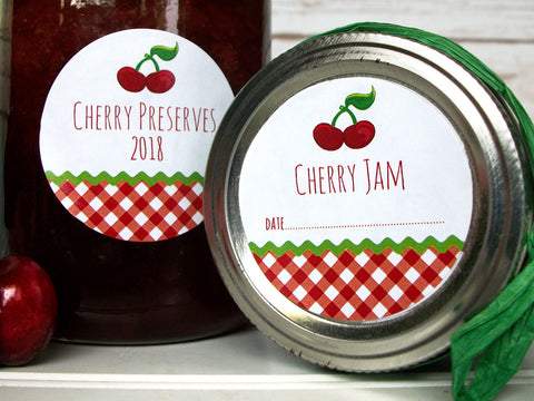 Gingham Cherry Canning Labels | CanningCrafts.com