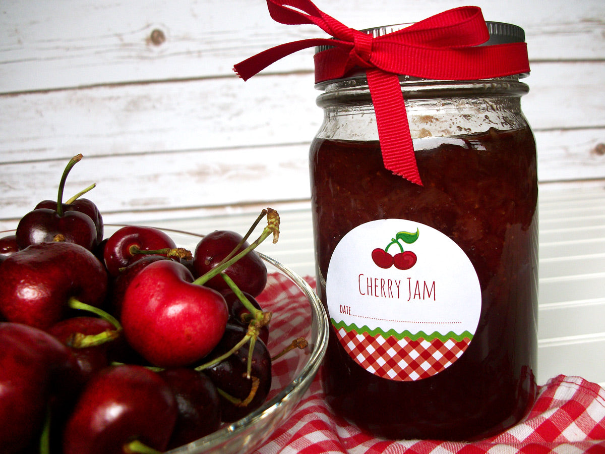 Gingham Cherry Jam Canning Jar Labels | CanningCrafts.com