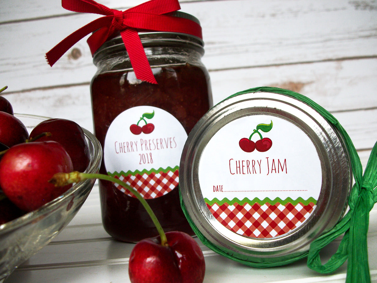 Gingham Cherry Jam & Preserves Canning Labels | CanningCrafts.com