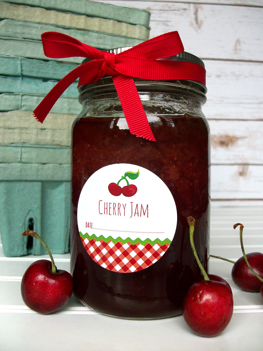 Gingham Cherry Jam Canning Labels | CanningCrafts.com