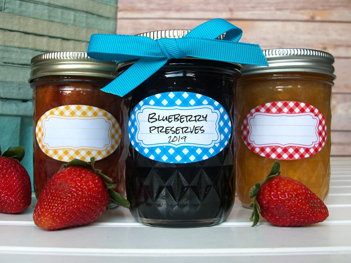 Classic Gingham Oval Canning Labels | CanningCrafts.com