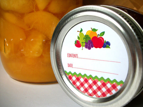 Gingham Fruit Canning Labels | CanningCrafts.com