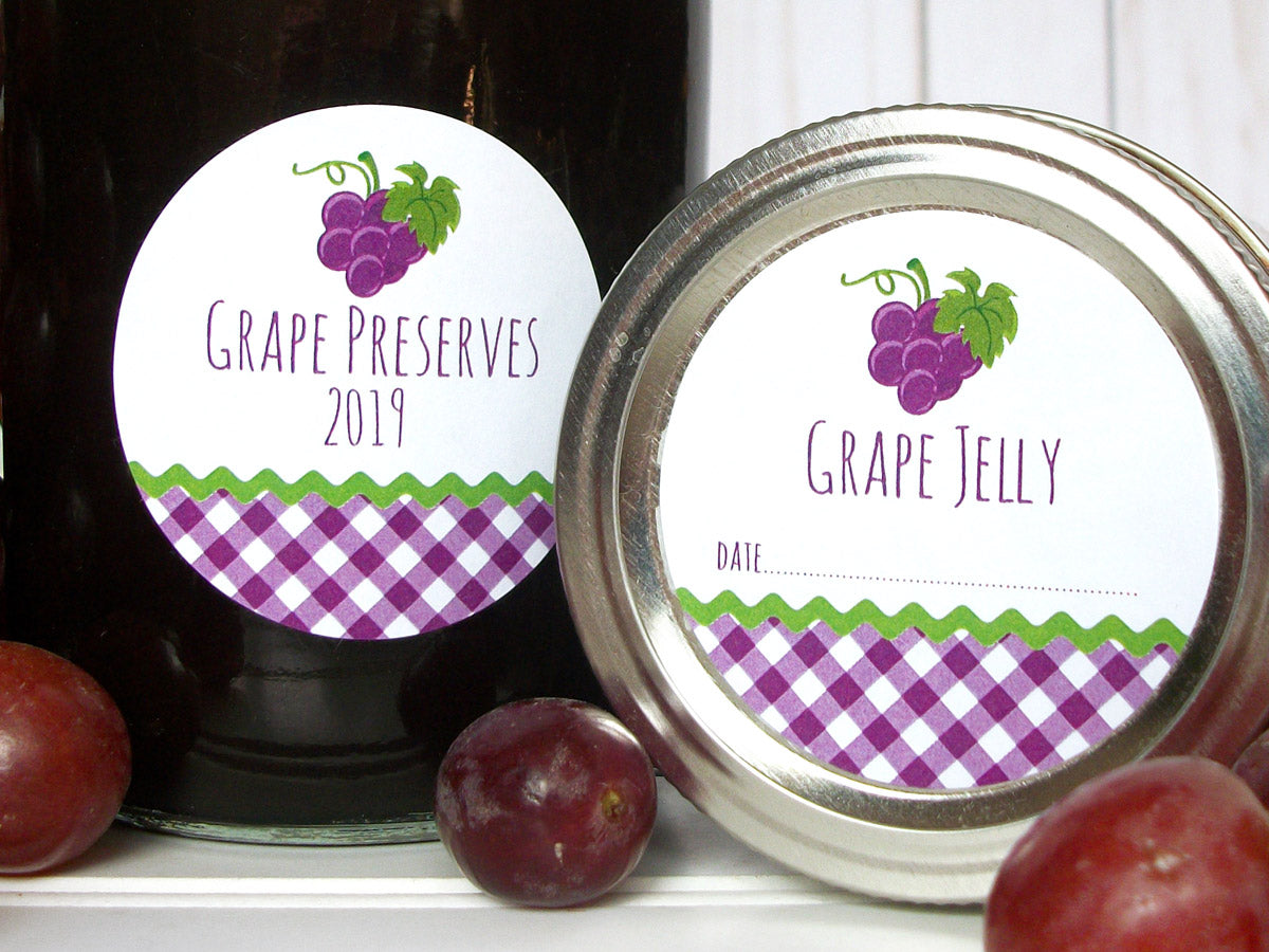 Gingham Grape Jelly Canning Labels | CanningCrafts.com