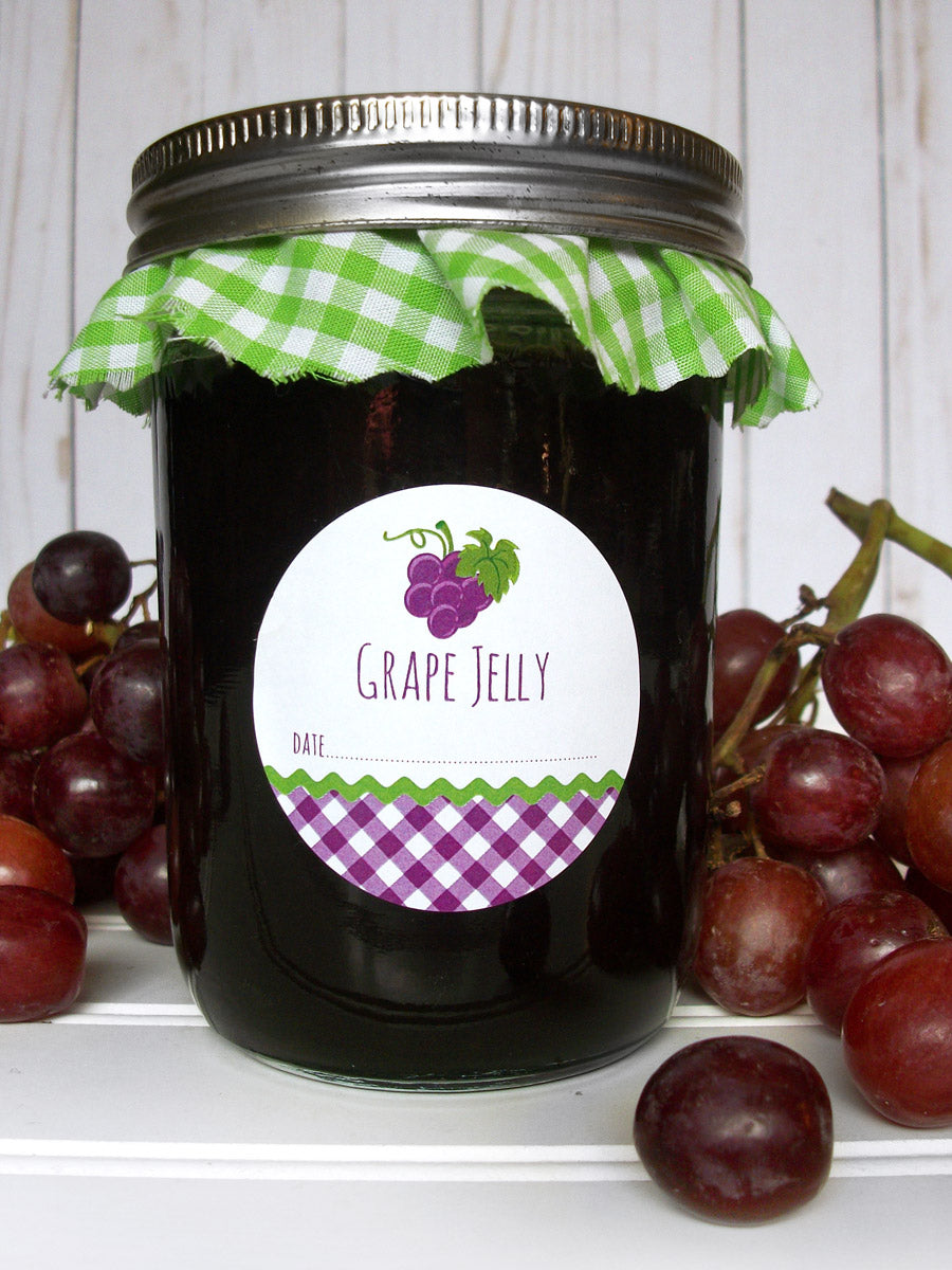 Gingham Grape Jelly Mason Jar Labels | CanningCrafts.com