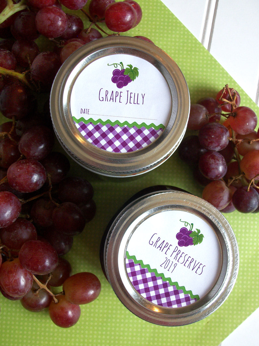 Gingham Grape Jelly & Preserves Canning Labels | CanningCrafts.com