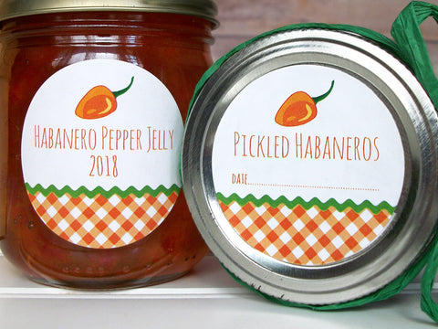 Gingham Habanero Pepper Jelly Canning Labels | CanningCrafts.com