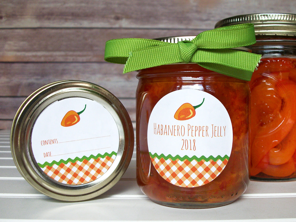 Gingham Habanero Pepper Jelly Canning Jar Labels | CanningCrafts.com
