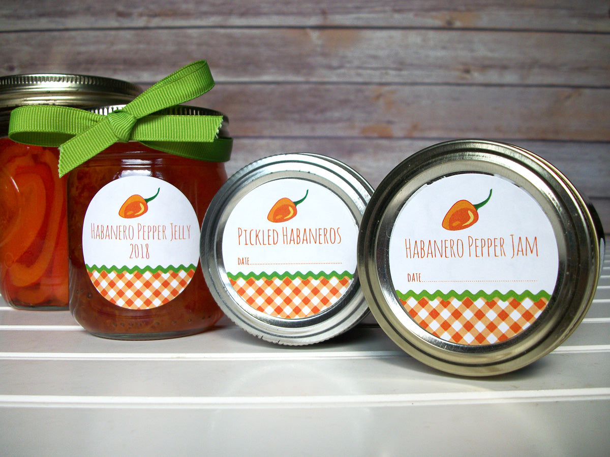 Gingham Habanero Pepper Jam & Jelly Canning Labels | CanningCrafts.com