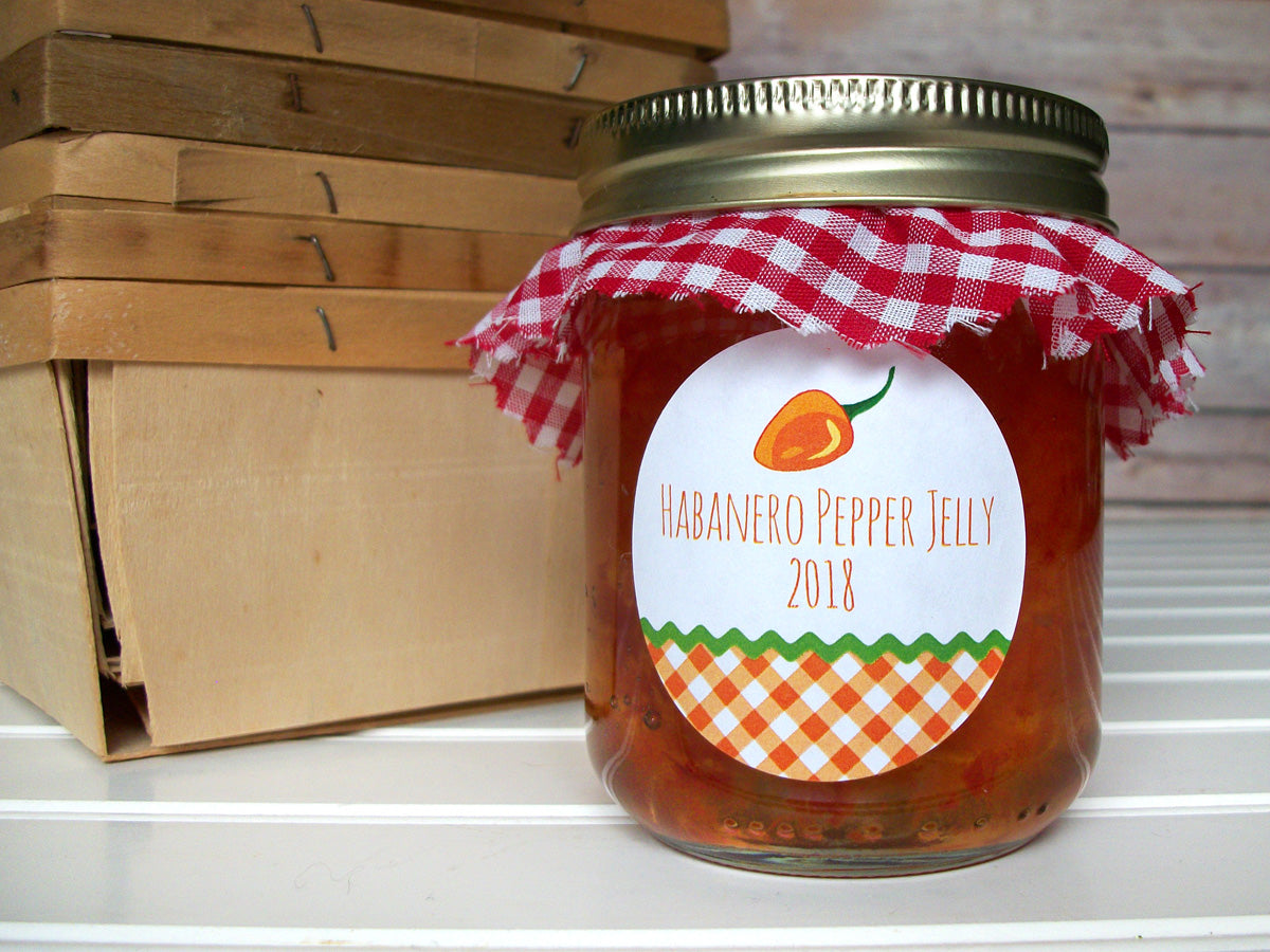 Gingham Habanero Pepper Jelly Mason Canning Jar Labels | CanningCrafts.com