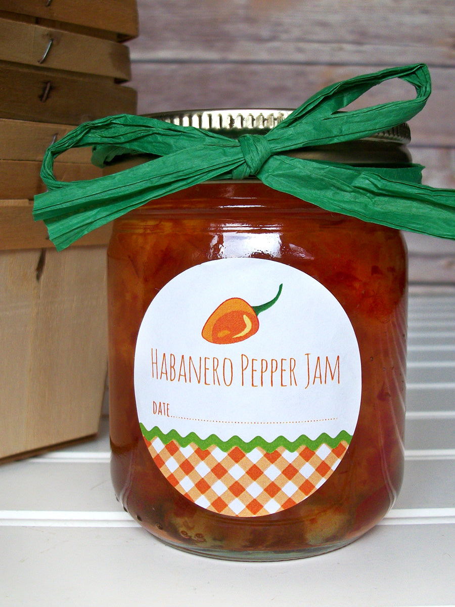 Gingham Habanero Pepper Canning Labels for jam, jelly, pickled peppers, & hot sauce | CanningCrafts.com