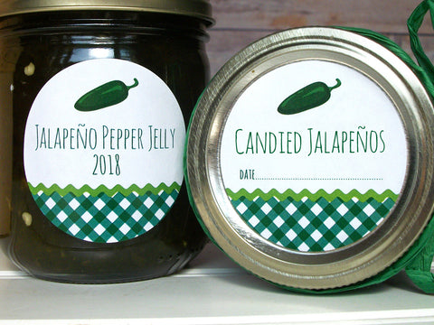 Gingham Jalapeno Pepper Canning Labels for jelly and candied peppers | CanningCrafts.com