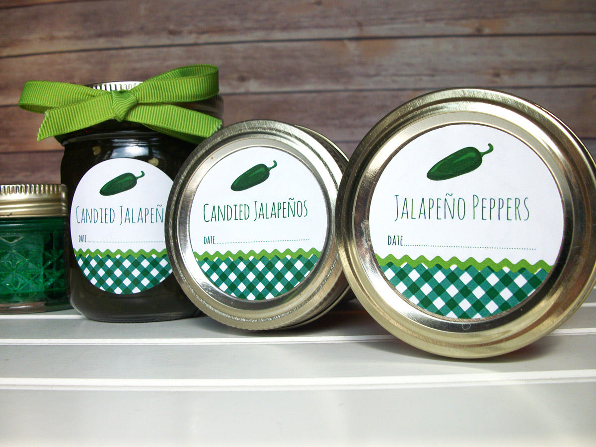 Gingham Jalapeno Pepper Jelly Canning Labels | CanningCrafts.com