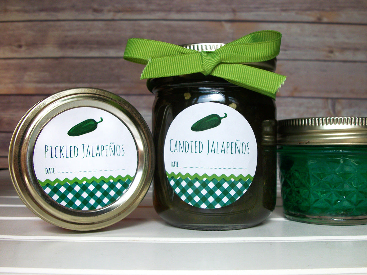 Gingham Pickled & Candied Jalapeno Pepper Canning Labels | CanningCrafts.com