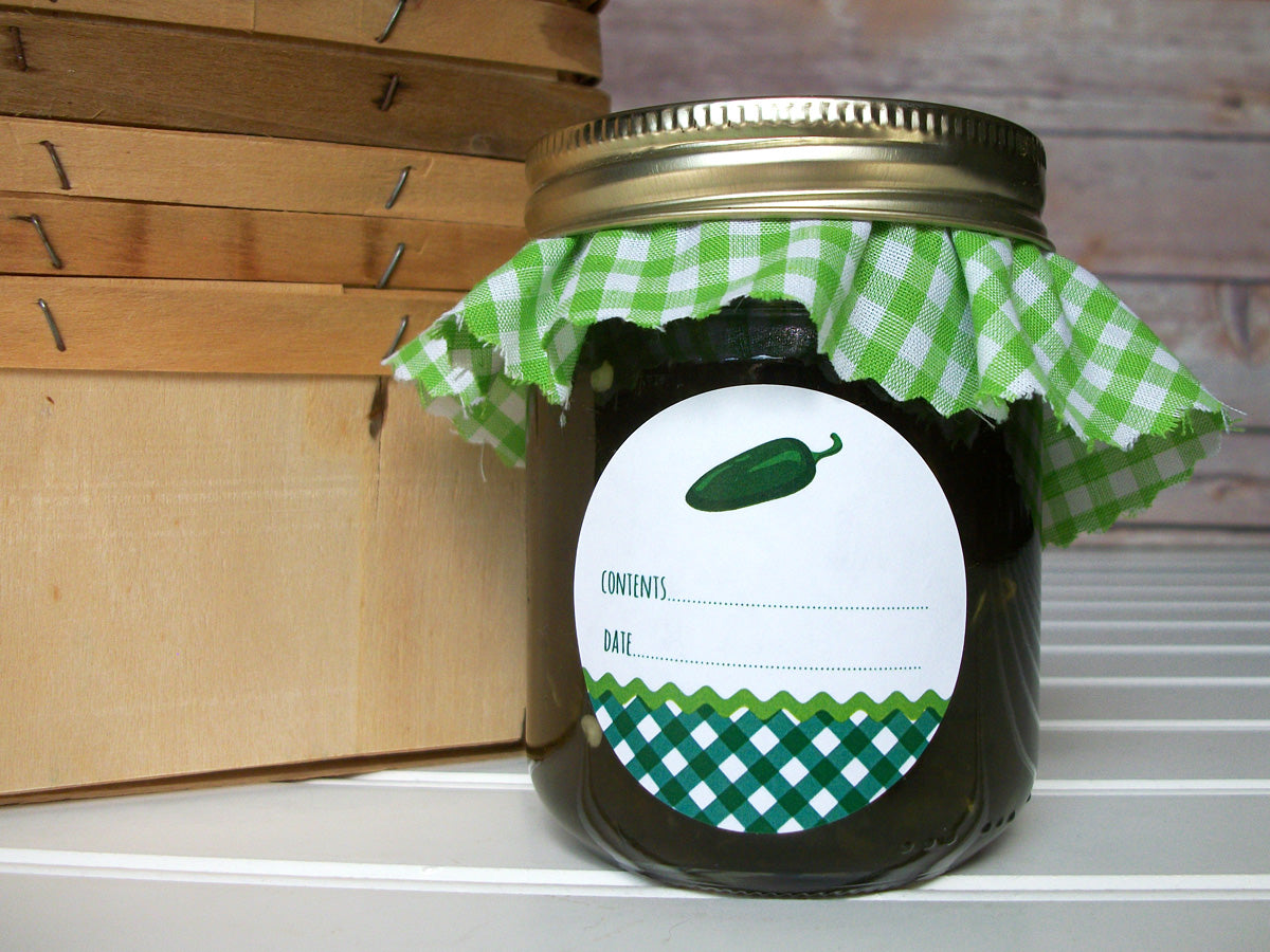 Gingham Jalapeno Pepper Canning Labels | CanningCrafts.com