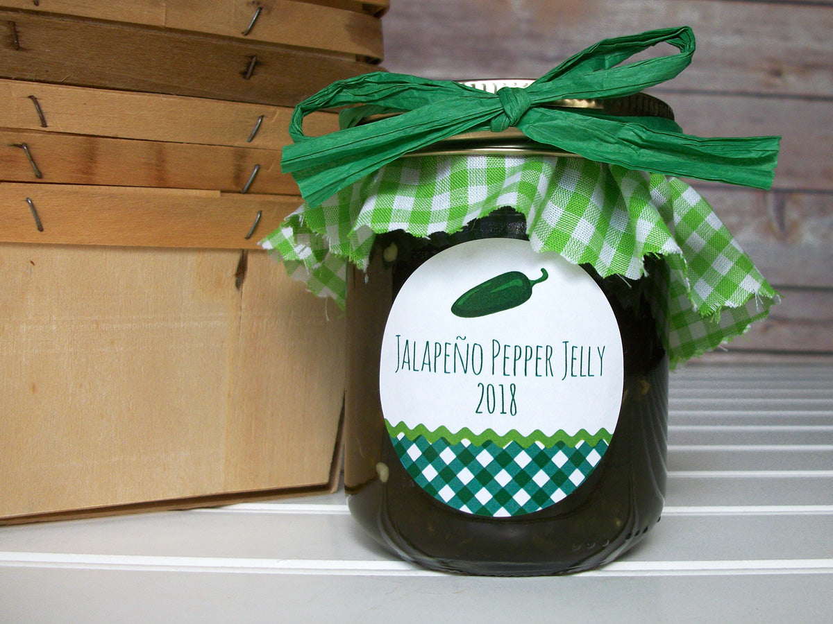 Gingham Jalapeno Pepper Jelly & Jam Canning Labels | CanningCrafts.com