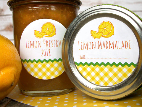 Gingham Lemon Canning Jar Labels for preserves & Marmalade | CanningCrafts.com