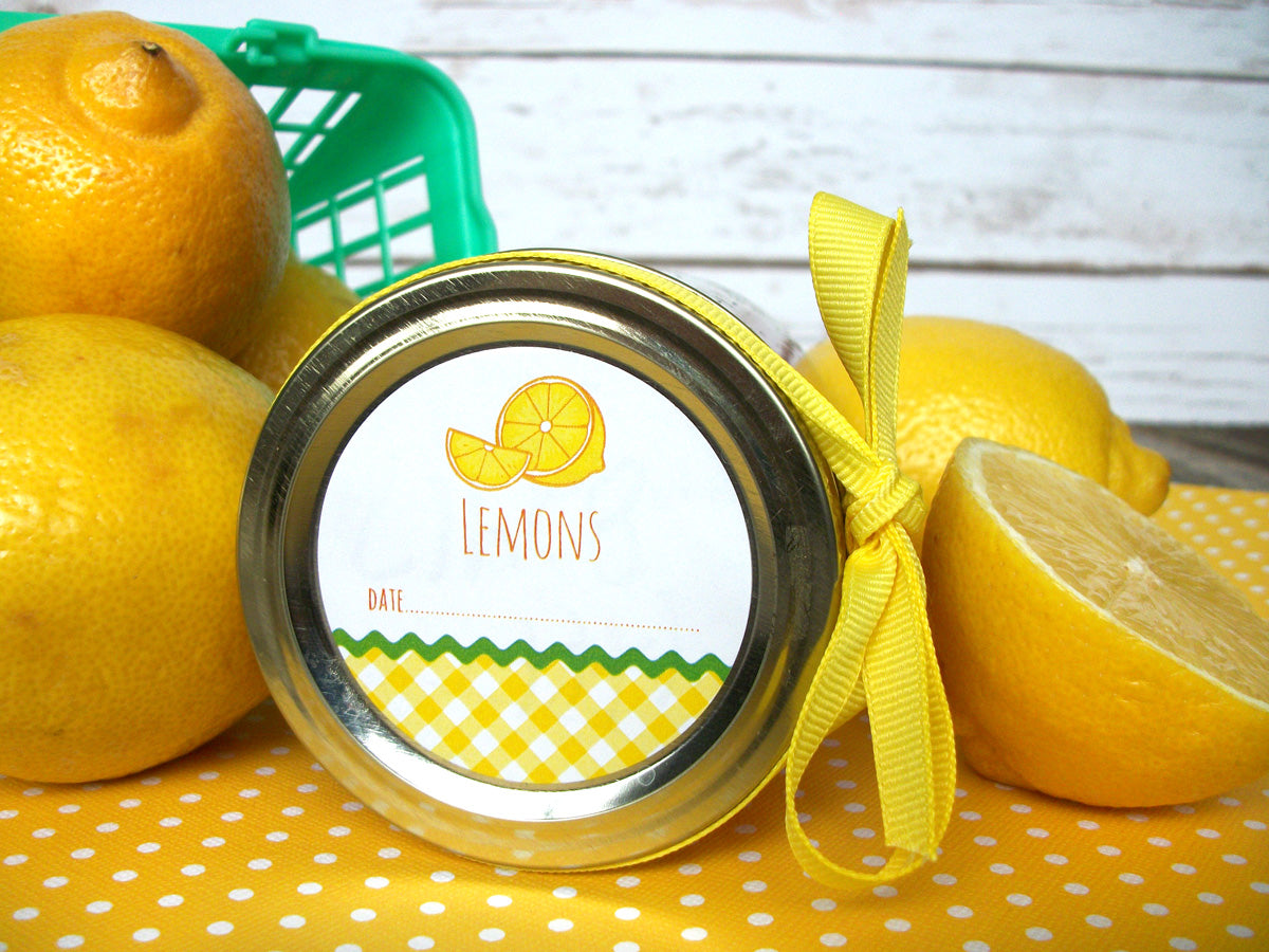Gingham Lemon Canning Jar Labels | CanningCrafts.com