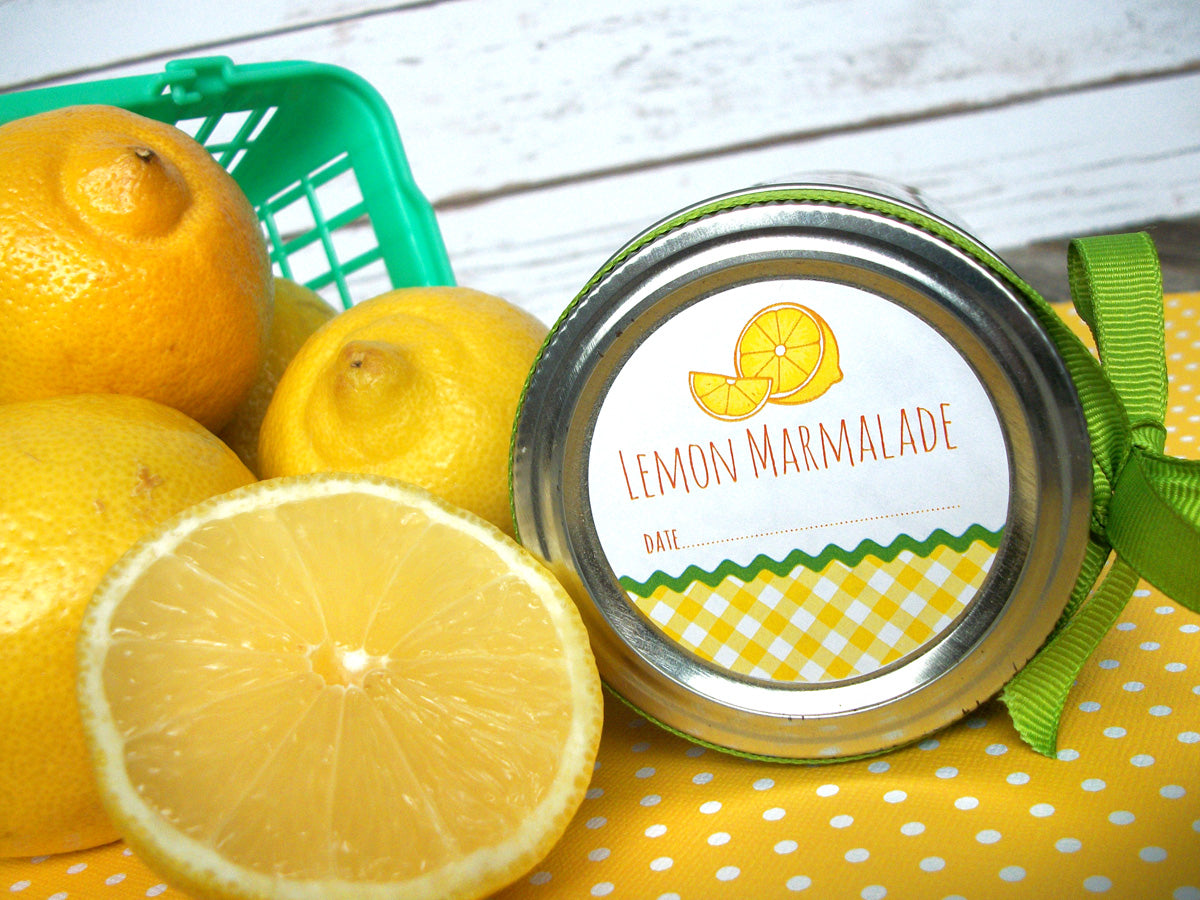Gingham Lemon Marmalade Canning Jar Labels| CanningCrafts.com