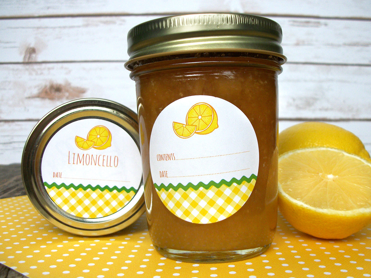 Gingham Lemon Canning Jar Labels for Limoncello, preserves & marmalade | CanningCrafts.com