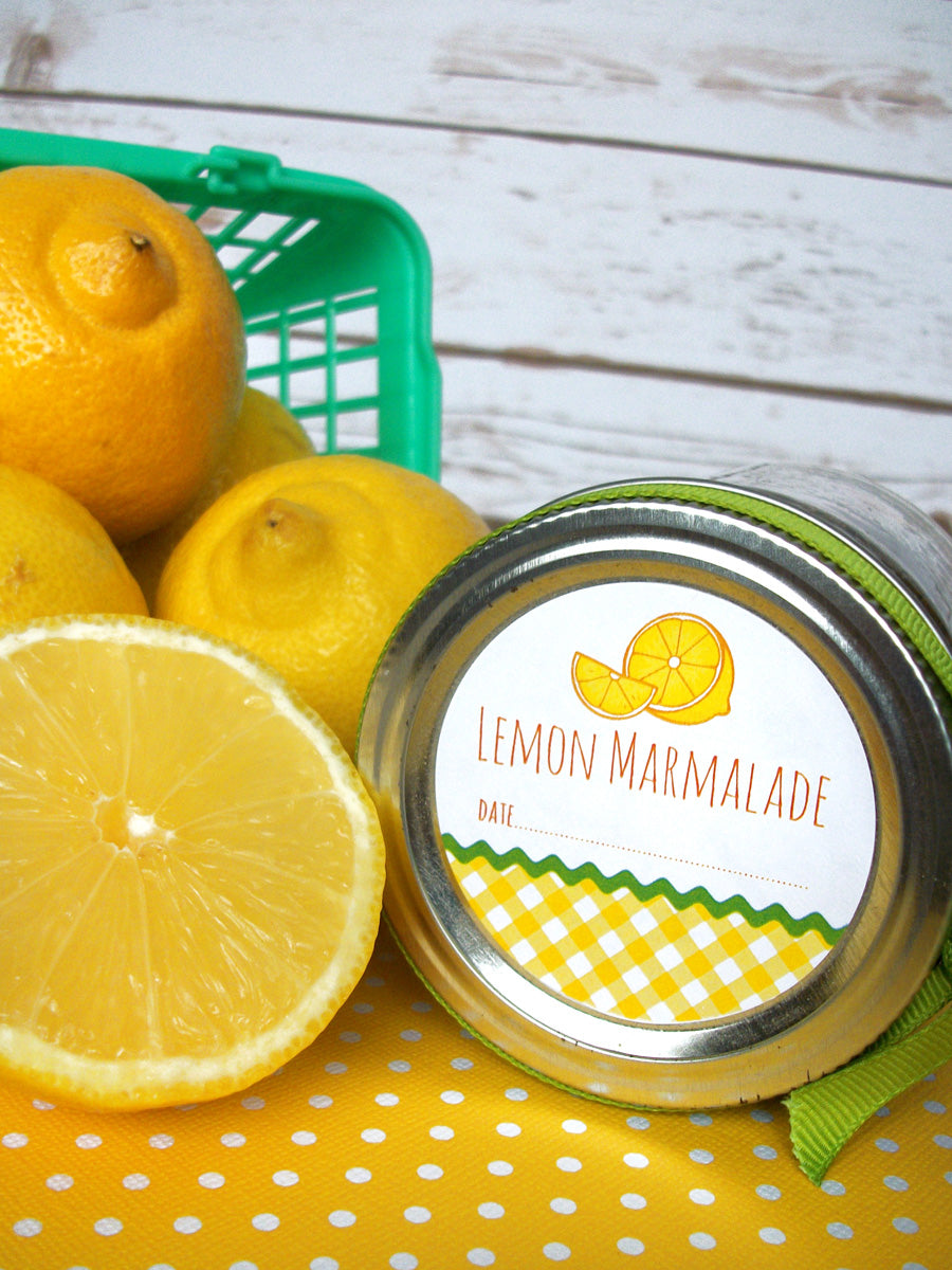 Gingham Lemon marmalade & jelly Canning Jar Labels | CanningCrafts.com