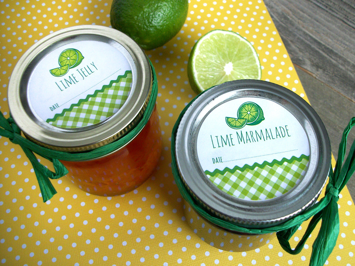 Gingham Lime marmalade & jelly Canning Jar Labels | CanningCrafts.com
