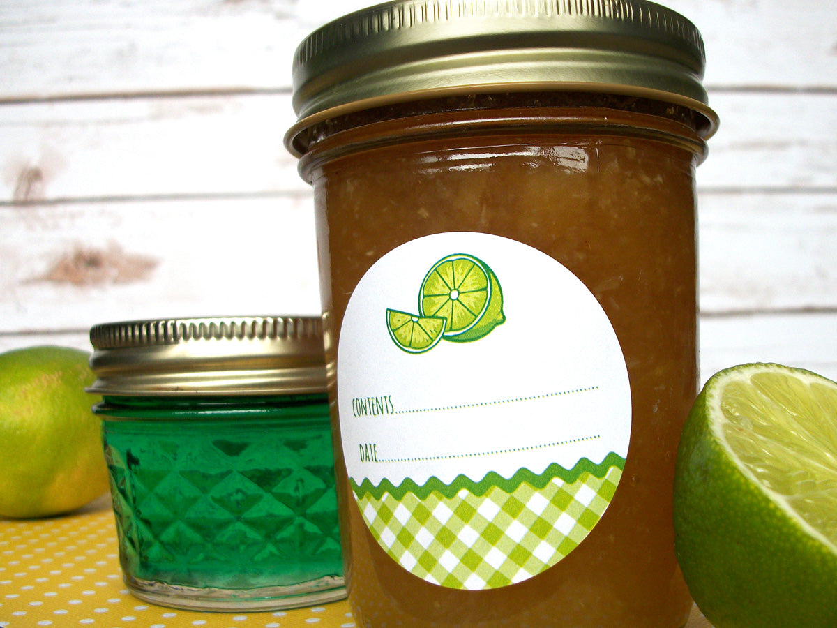 Gingham Lime Canning Labels | CanningCrafts.com