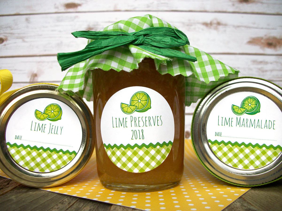 Gingham Lime marmalade & jelly & preserves Canning Jar Labels | CanningCrafts.com
