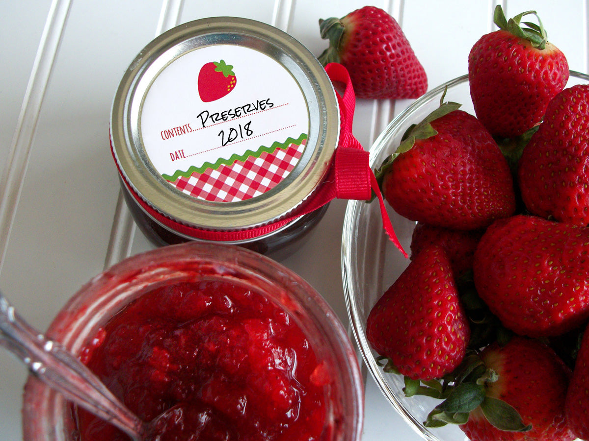 Strawberry Jam & Jelly Canning Jar Labels | CanningCrafts.com