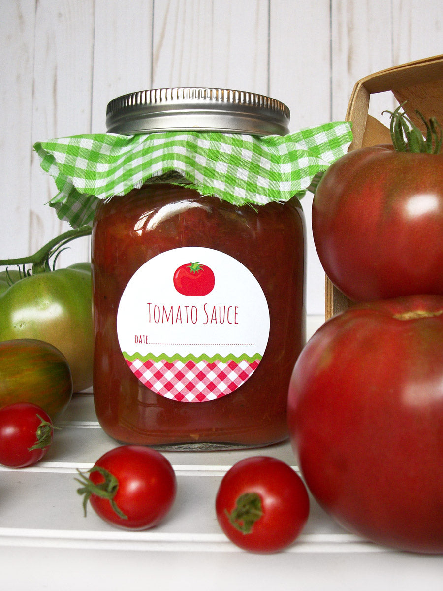 Gingham Tomato Sauce Canning Labels | CanningCrafts.com