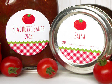 Gingham Tomato Spaghetti Sauce & Salsa Canning Labels | CanningCrafts.com