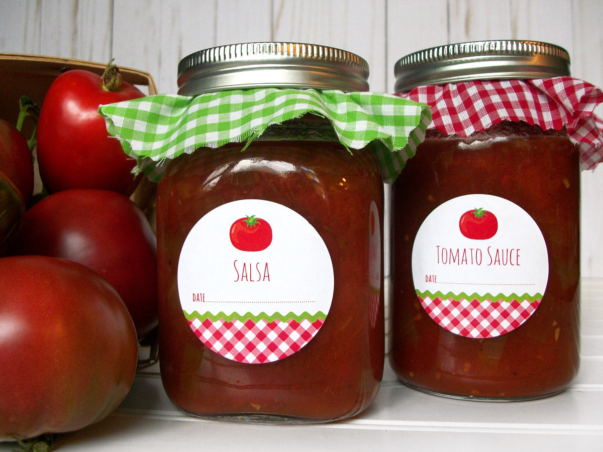 Gingham Tomato Sauce & Salsa Canning Jar Labels | CanningCrafts.com