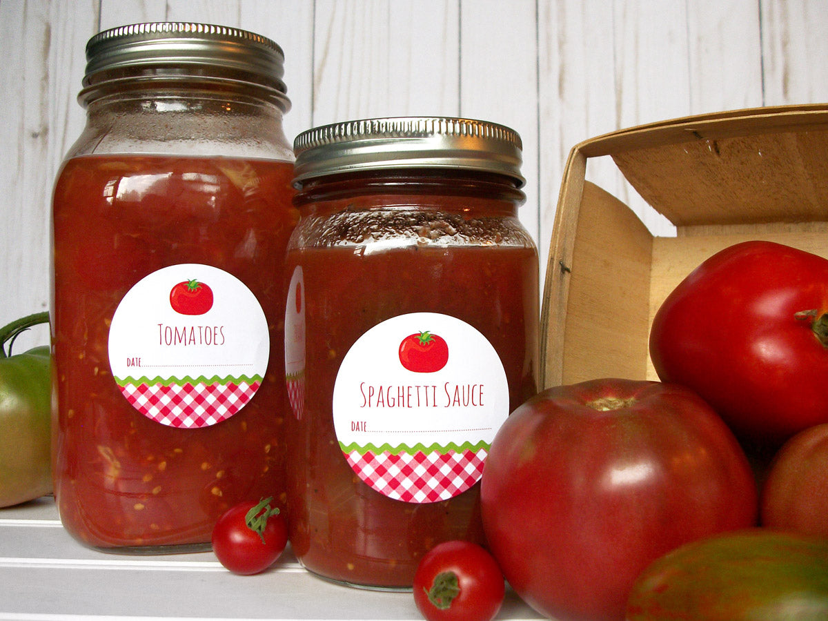 Gingham Tomato Canning Labels