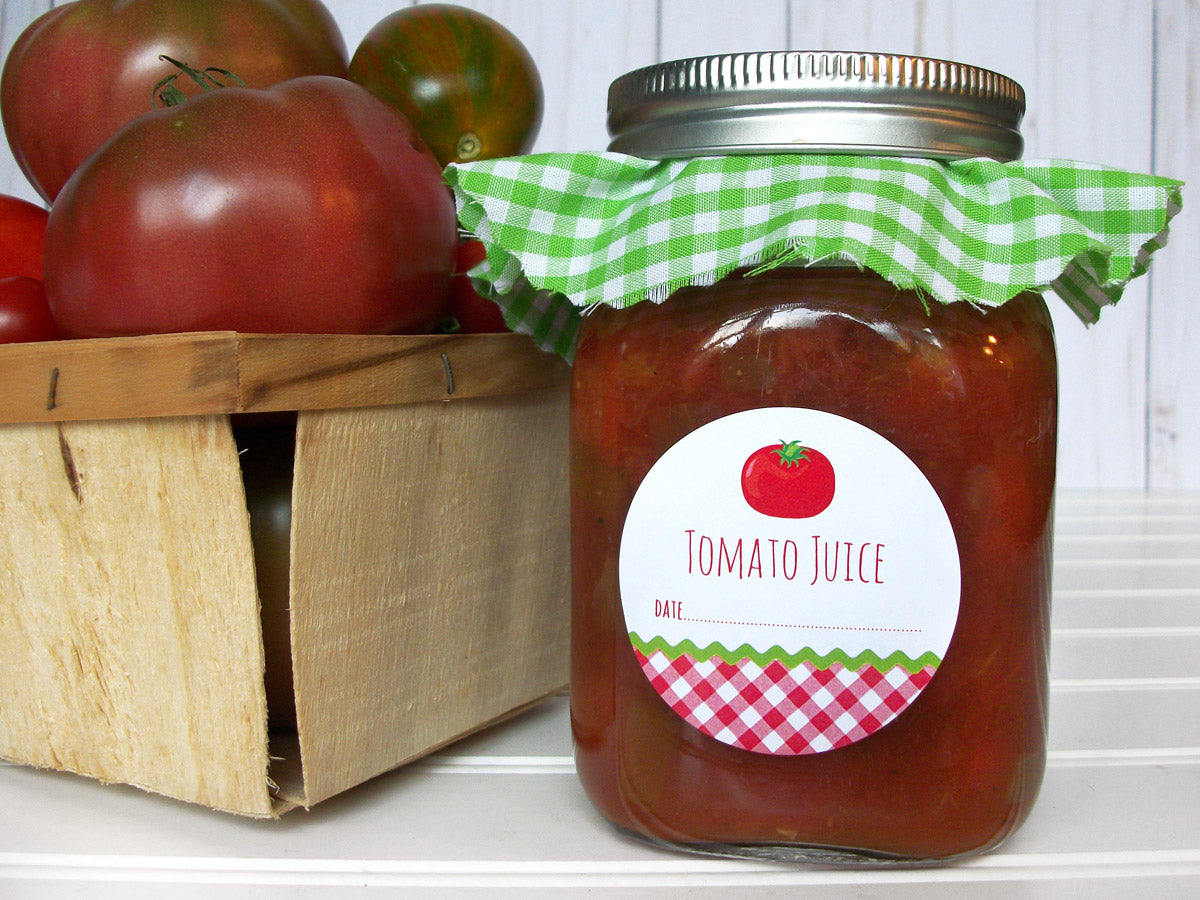 Gingham Tomato Juice Mason Canning Jar Labels | CanningCrafts.com