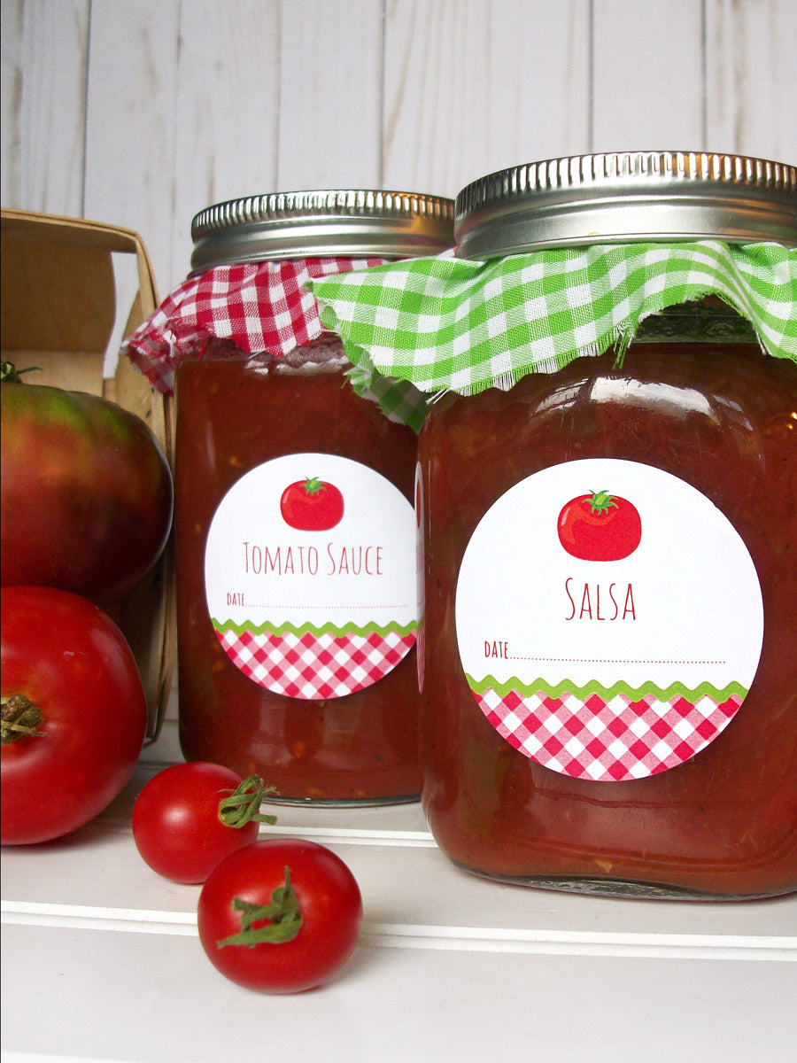 Gingham Tomato Sauce & Salsa Canning Labels | CanningCrafts.com