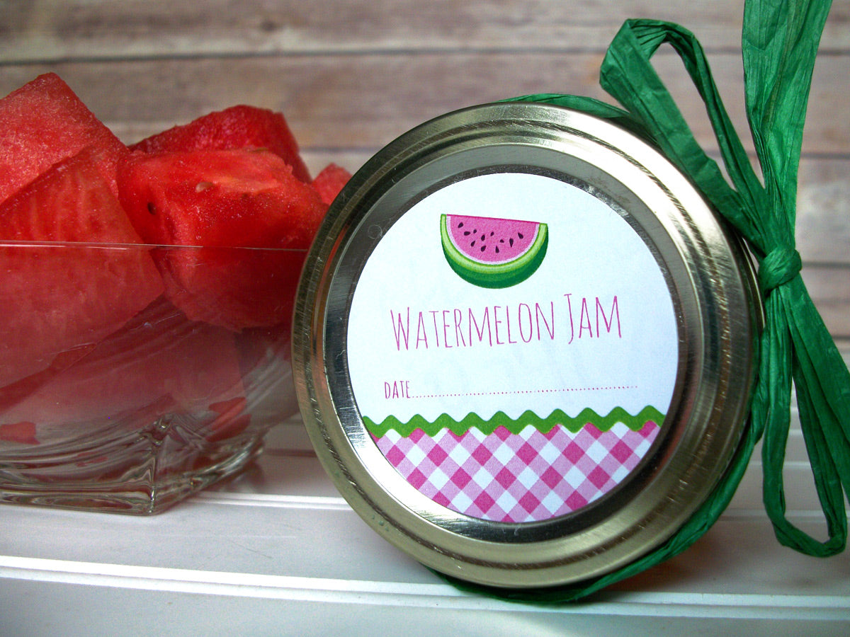 Gingham Watermelon Jam Canning Labels | CanningCrafts.com