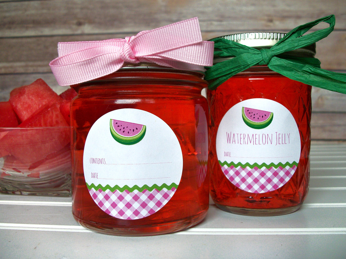 Gingham Watermelon Canning Labels | CanningCrafts.com