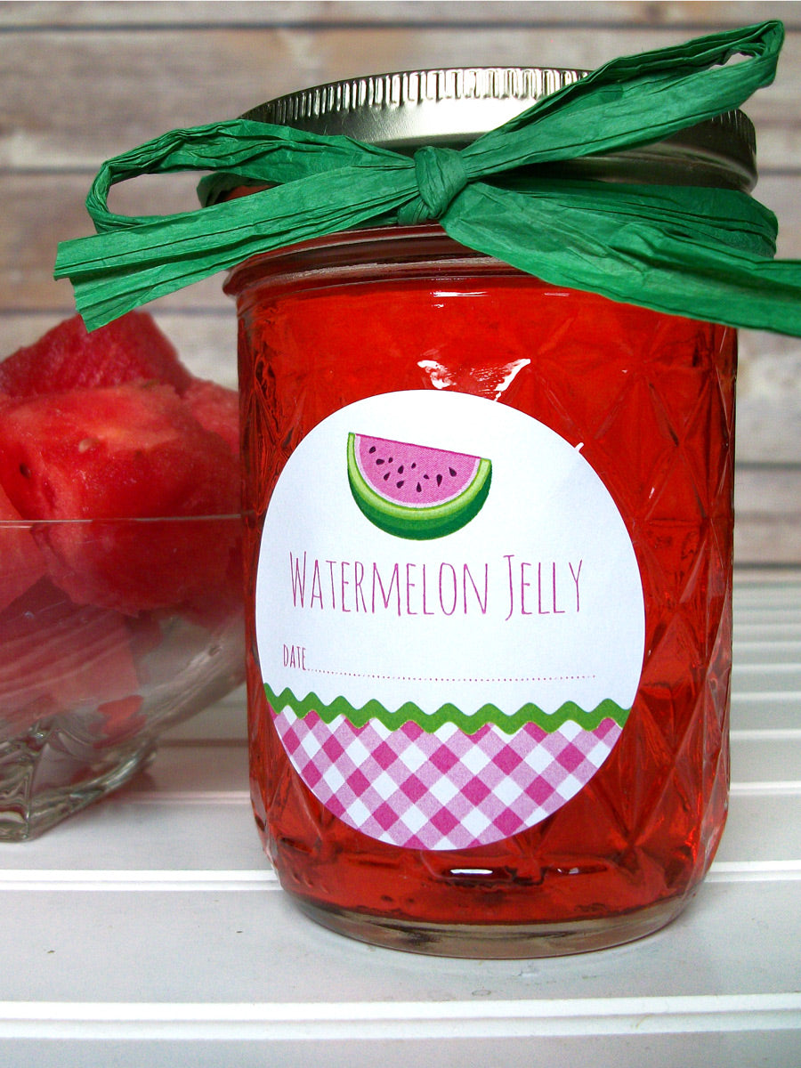 Gingham Watermelon Jelly Canning Labels | CanningCrafts.com