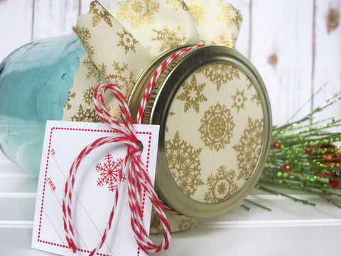 Gold Snowflake Jam Jar Decoration Set