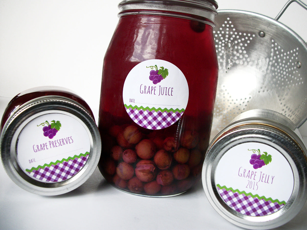 Grape Jelly Jam Preserves Canning Jar Labels | CanningCrafts.com
