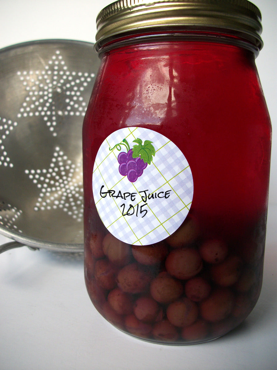 Plaid Grape Canning Jar Labels | CanningCrafts.com
