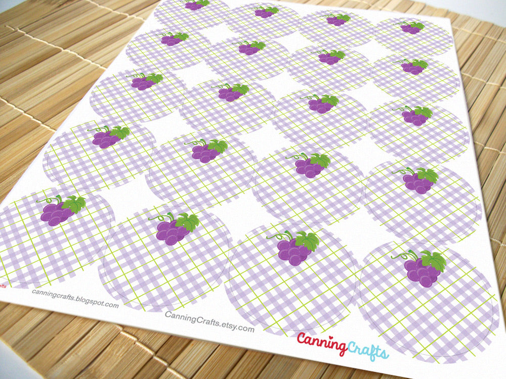 Plaid Grape Canning Labels | CanningCrafts.com