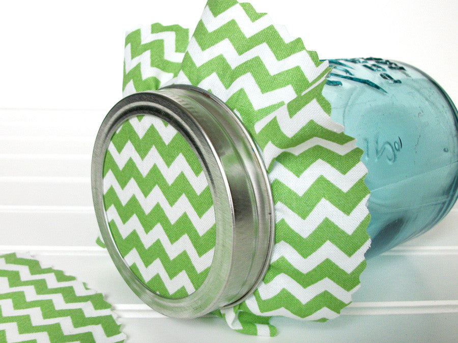 12 Green Chevron Jam Jar Covers