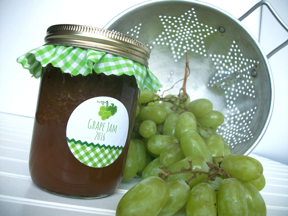 White Green Grape Jam Canning Labels | CanningCrafts.com